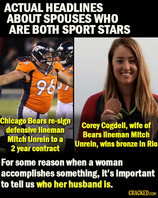 ACTUAL HEADLINES ABOUT SPOUSES WHO ARE BOTH SPORT STARS eas 960, Chicago Bears re-sign Corey Cogdell, wife of defensive lineman Bears lineman Mitch Mi