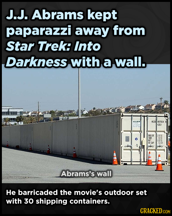 J.J. Abrams kept paparazzi away from Star TREk: Into Darkness with a wall. NC2D 887834 4201 WAGR ME TIRE UET CAP Abrams's wall He barricaded the movie