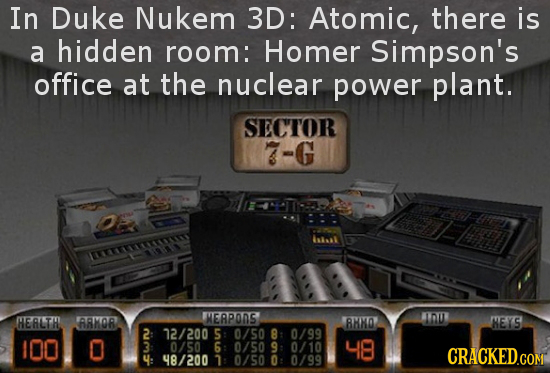 In Duke Nukem 3D: Atomic, there is a hidden room: Homer Simpson's office at the nuclear power plant. SECTOR 7-G Lrs HERLTH A8MOR MEAPONS NOI 8HNO MEYS