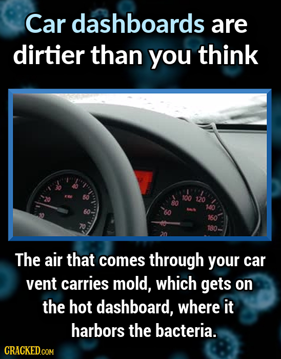 Car dashboards are dirtier than you think 50 100 120 80 140 160 180. The air that comes through your car vent carries mold, which gets on the hot dash