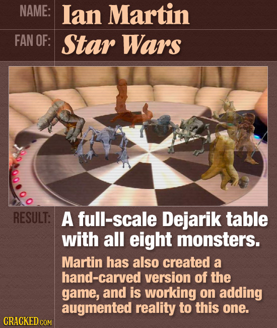 NAME: lan Martin FAN OF: Star Wars RESULT: A full-scale Dejarik table with all eight monsters. Martin has also created a hand-carved version of the ga