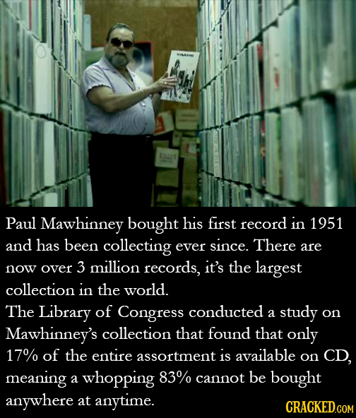 aas Paul Mawhinney bought his first record in 1951 and has been collecting ever since. There are over million records, it's now 3 the largest collecti