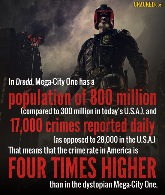 CRACKED COM In Dredd, Mega-City One has a population of 800 million (compared to 300 million in today's U.S.A.), and 17.000 crimes reported daily (as