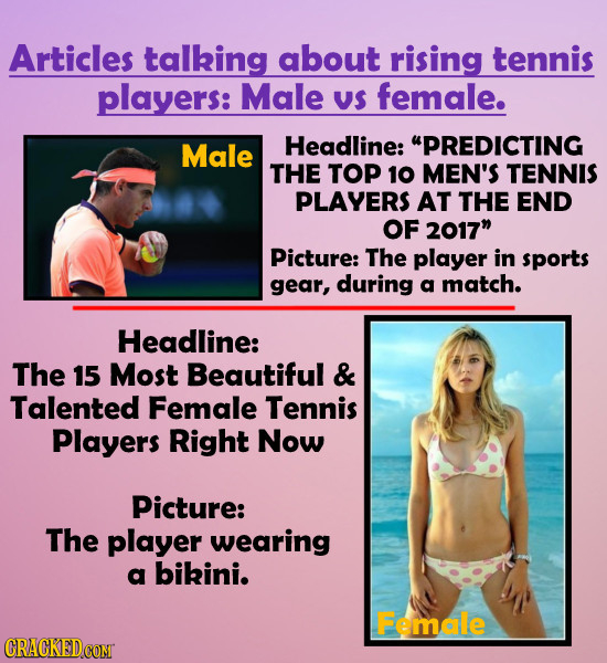 Articles talking about rising tennis players: Male V$ female. Male Headline: PREDICTING THE TOP 10 MEN'S TENNIS PLAYERS AT THE END OF 2017 Picture: