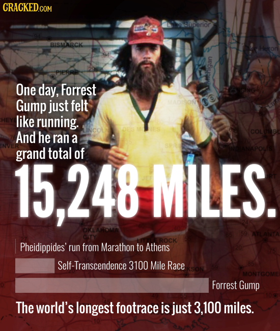 a9superior BISMARCK Heron PIERRP One day, Forrest Gump just felt MADISON like running. And he COLONB ran a grand total of 15,248 MILES. 59 ATLANTA CIT