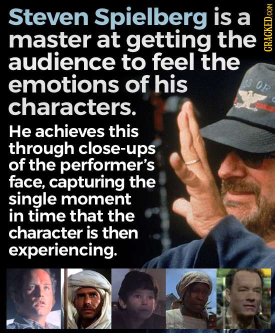Steven Spielberg is a master at getting the audience to feel the GRAI emotions of his OF characters. He achieves this through close-ups of the perform
