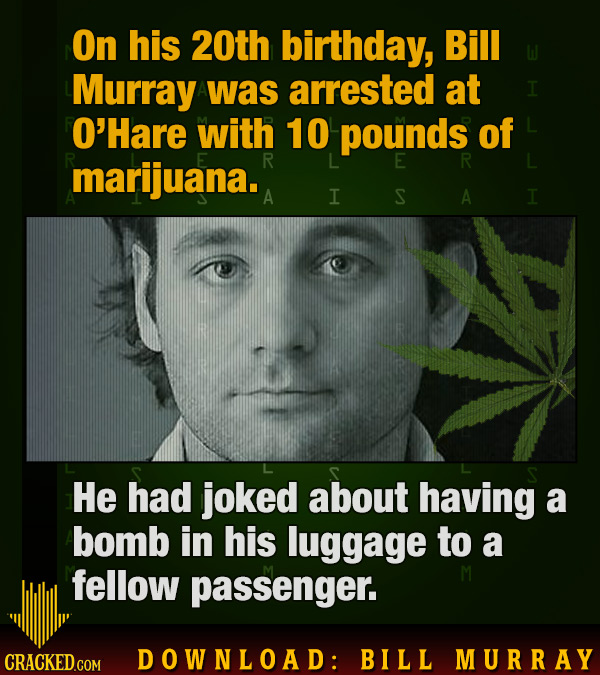 On his 20th birthday, Bill Murray was arrested at O'Hare with 10 pounds of marijuana. E R A I S A I He had joked about having a bomb in his luggage to