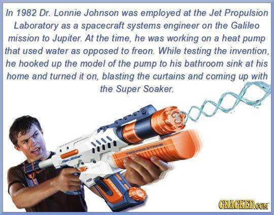 In 1982 Dr Lonnie Johnson was employed at the Jet Propulsion Laboratory as a spacecraft systems engineer on the Galileo mission to Jupiter. At the tim