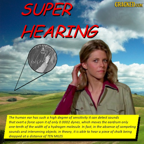 SUPER CRACKEDcO HEARING The human ear has such a high degree of sensitivity it can detect sounds that exert a force upon it of only 0.0002 dynes, whic