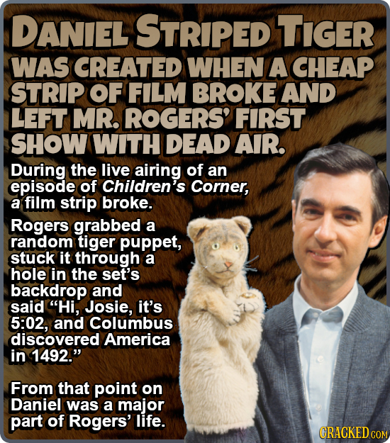 DANIEL STRIPED TIGER WAS CREATED WHEN A CHEAP STRIP OF FILM BROKE AND LEFT MR. ROGERS' FIRST SHOW WITH DEAD AIR. During the live airing of an episode