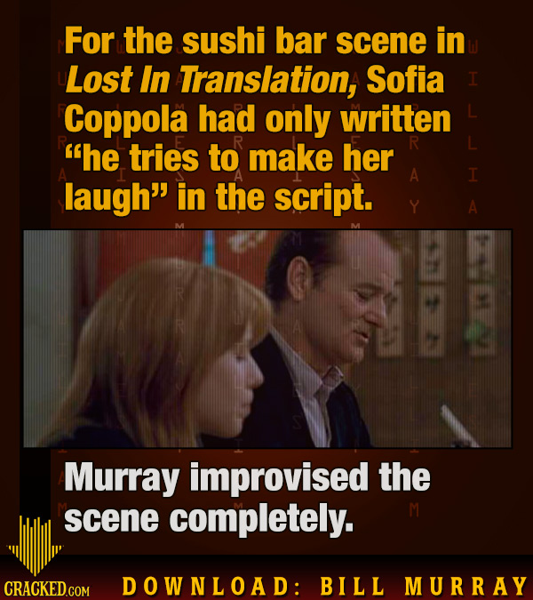 For the sushi bar scene in Lost In Translation, Sofia I Coppola had only written he tries to make her R A I laugh in the script. A Murray improvised