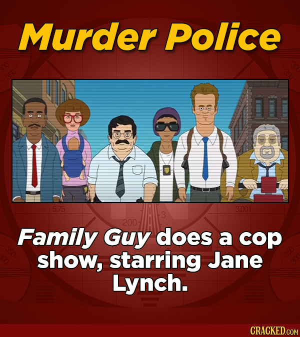 Murder Police 5.75 3.001 200 Family Guy does a cop show, starring Jane Lynch.