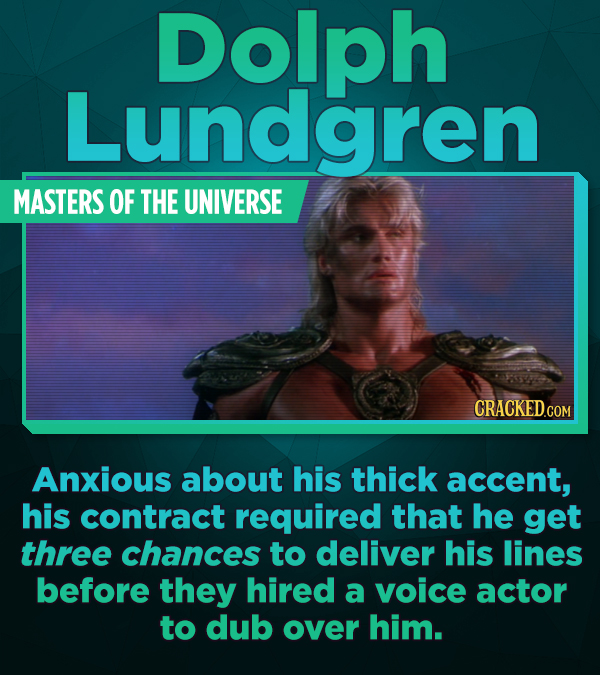 Dolph Lundgren MASTERS OF THE UNIVERSE Anxious about his thick accent, his contract required that he get three chances to deliver his lines before the