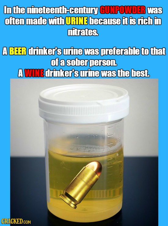 In the nineteenth- century GUNPOWDER was often made with URINE because it is rich in nitrates, A BEER drinker's urine was preferable to that of a sobe