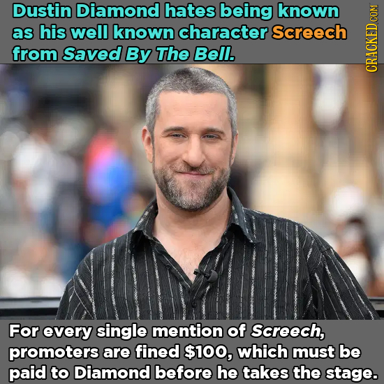 Dustin Diamond hates being known as his well known character Screech from Saved By The Bell. CRAUA For every single mention of screech, promoters are