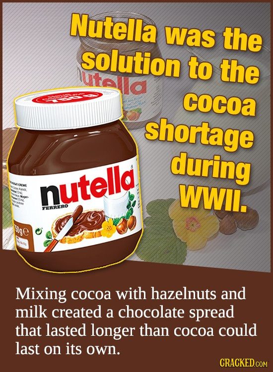 Nutella was the solution to the utala cocoa shortage during t ervt nutella WWil. PERRERO ige Mixing cocoa with hazelnuts and milk created a chocolate