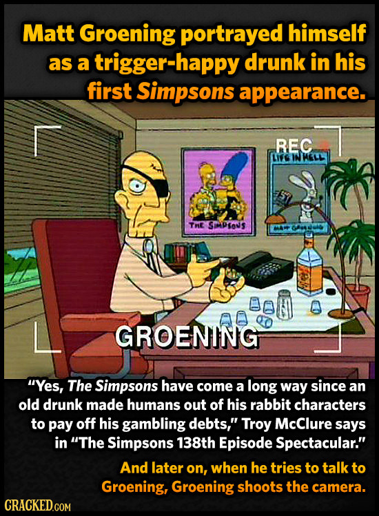 Matt Groening portrayed himself as a trigger-happy drunk in his first Simpsons appearance. REC LI'G IN HELL THE SMPIOs AW 0D GROENING Yes, The Simpso