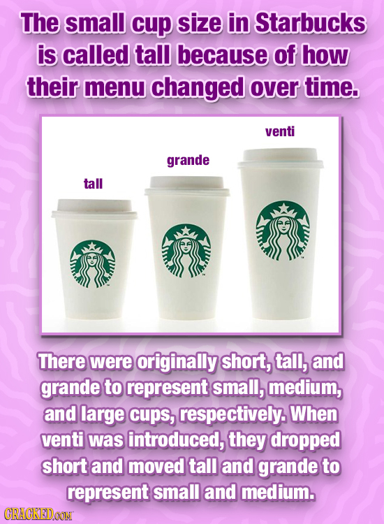 The small cup size in Starbucks is called tall because of how their menu changed over time. venti grande tall There were originally short, tall, and g