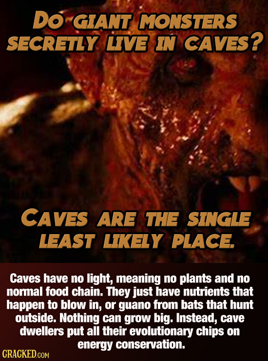 Do GIANT MONSTERS SECRETLY LIVE IN CAVES? CAVES ARE THE SINGLE LEAST LIKELY PLACE. Caves have no light, meaning no plants and no normal food chain. Th