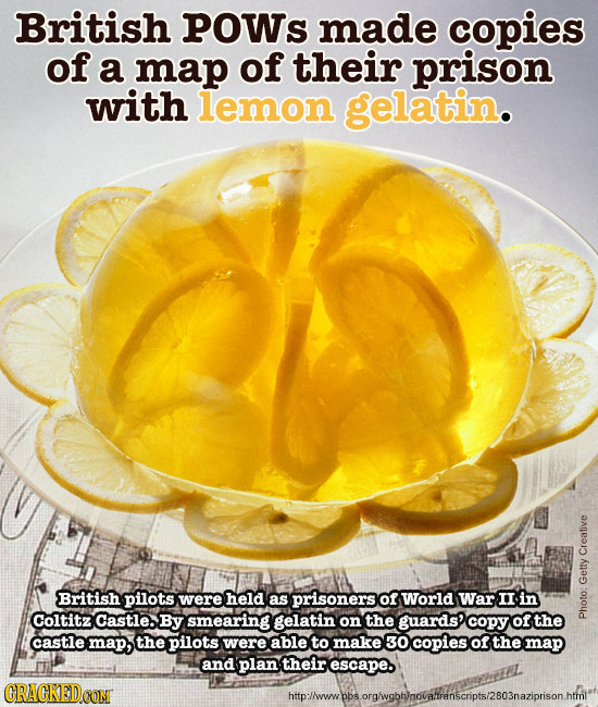 British POWs made copies of a map of their prison with lemon gelatin. Creative British pilots were held as prisoners of World war II in Getty Coltitz