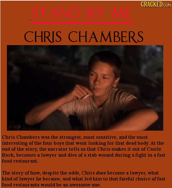 CRACKED COM STAND BY ME CHRIS CHAMBERS Chris Chambers was the strongest, most sensitive, and the most interesting of the four boys that went looking f