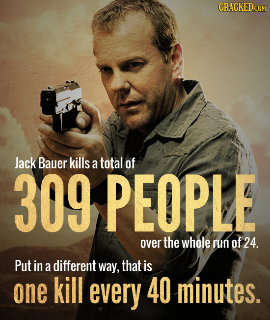 CRACKED COM Jack Bauer kills a total of 309 PEOPLE over the whole run of 24. Put in a different way, that is one kill every 40 minutes.