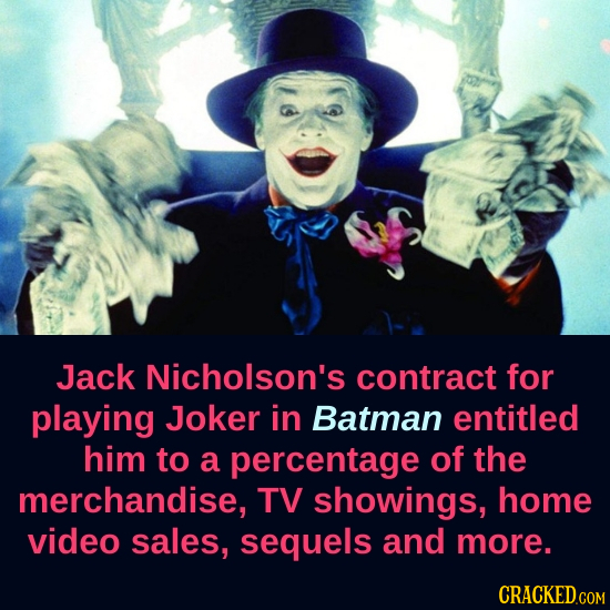 Jack Nicholson's contract for playing Joker in Batman entitled him to a percentage of the merchandise, TV showings, home video sales, sequels and more