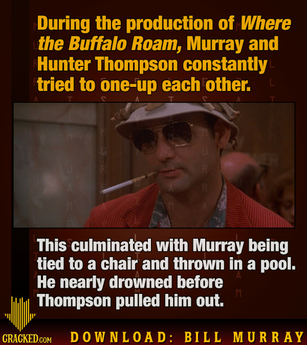 During the production of Where the Buffalo Roam, Murray and Hunter Thompson constantly tried to one-up each other. This culminated with Murray being t
