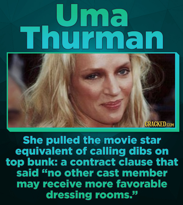 Uma Thurman CRACKED CO COM She pulled the movie star equivalent of calling dibs on top bunk: a contract clause that said no other cast member may rec