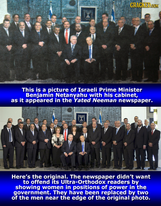 CRACKED This is a picture of Israeli Prime Minister Benjamin Netanyahu with his cabinet, as it appeared in the Yated Neeman newspaper. Here's the orig