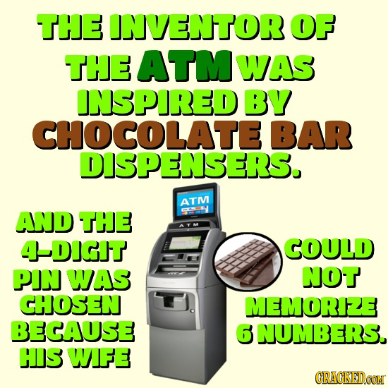 THE INVENTOR OF THE ATM WAS INSPIRED BY CHOCOLATE BAR DISPENSERS. ATIV AND THe DiGIT COULD PIN WAS NOT CHOSEN MEMORIZE BECAUSE 6 NUMBERS. HIS WIFE GRA