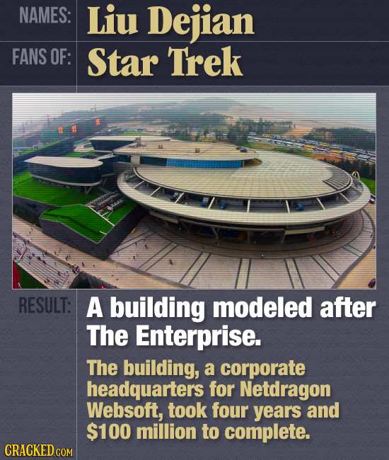 NAMES: Liu Dejian FANS OF: Star Trek RESULT: A building modeled after The Enterprise. The building, a corporate headquarters for Netdragon Websoft, to