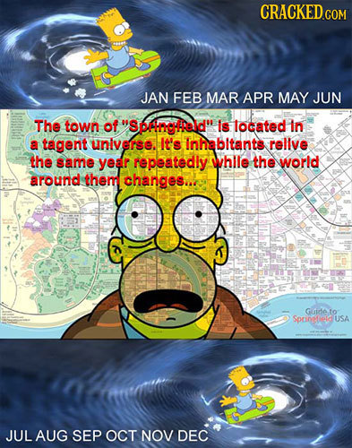 JAN FEB MAR APR MAY JUN The town of Spilngreld Is located In a tagent unlverse. It's Inhabltants rellve the same year repeatedly whle the world arou