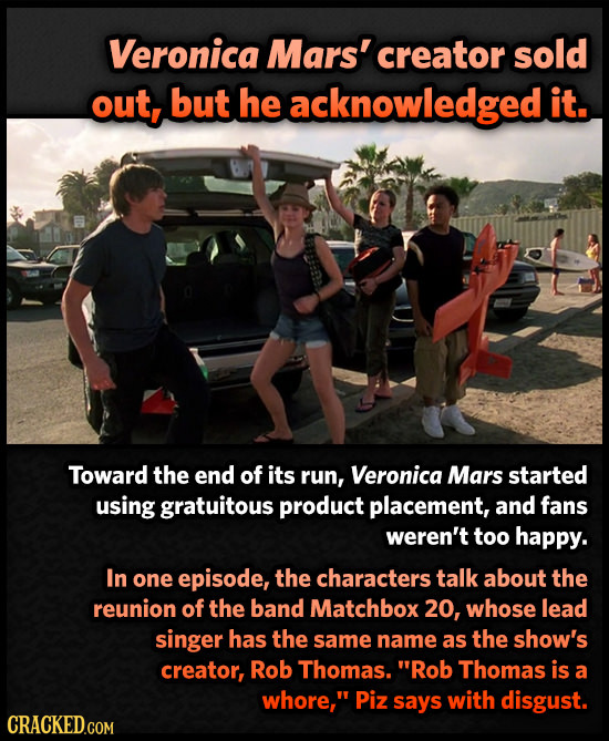 Veronica Mars' creator sold out, but he acknowledgedi it. Toward the end of its run, Veronica Mars started using gratuitous product placement, and fan