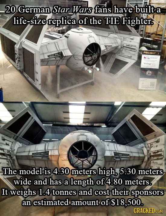 20 German Star Wars fans have built a life-size replica of the TIE Fighter. PROECT The model is 4.30 meters high, 5.30 meters wide and has a length of