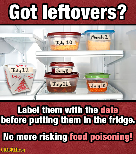 Got leftovers? March 2 July 10 Enjoy July 12 Julyt 8 Enjoy Thonk you July 11 July10 Label them with the date before putting them in the fridge. No mor