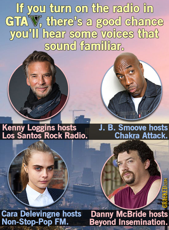 If you turn on the radio in GTAV, there's a good chance you'll hear some voices that sound familiar. Kenny Loggins hosts J. B. Smoove hosts Los Santos
