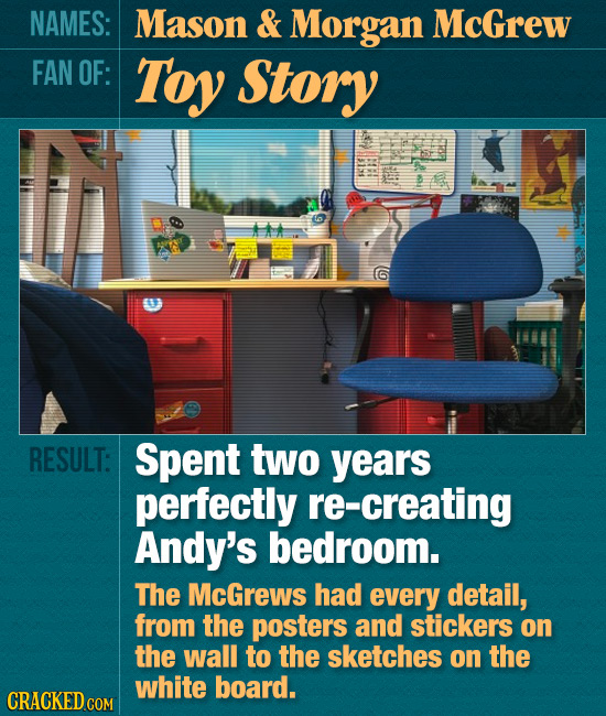 NAMES: Mason & Morgan McGrew FAN OF: Toy Story RESULT: Spent two years perfectly re-creating Andy's bedroom. The McGrews had every detail, from the po