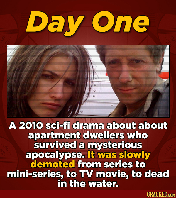 Day One A 2010 sci-fi drama about about apartment dwellers who survived a mysterious apocalypse. It was slowly demoted from series to mini-series, to
