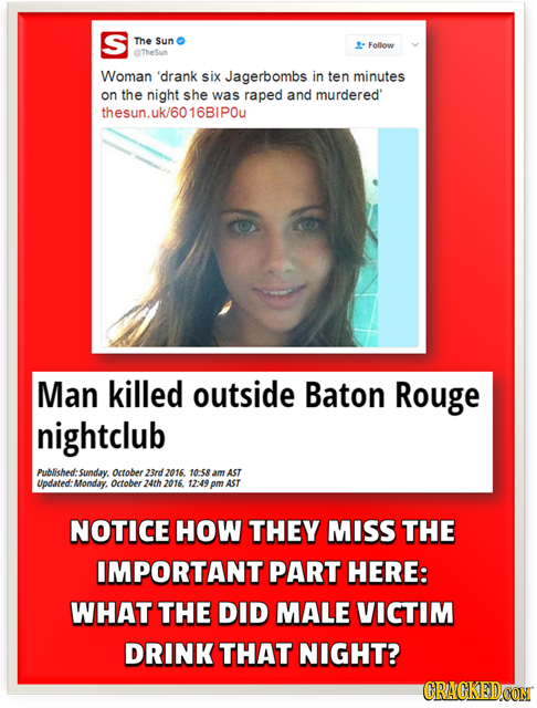 S The Sun Follow TheSun Woman 'drank six Jagerbombs in ten minutes on the night she was raped and murdered' thesun.uk/6016BIPOu Man killed outside Bat