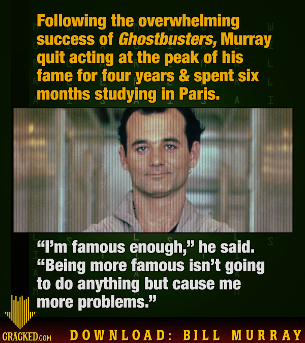 Following the overwhelming success of Ghostbusters, Murray quit acting at the peak of his fame for four years & spent six months studying in Paris. A