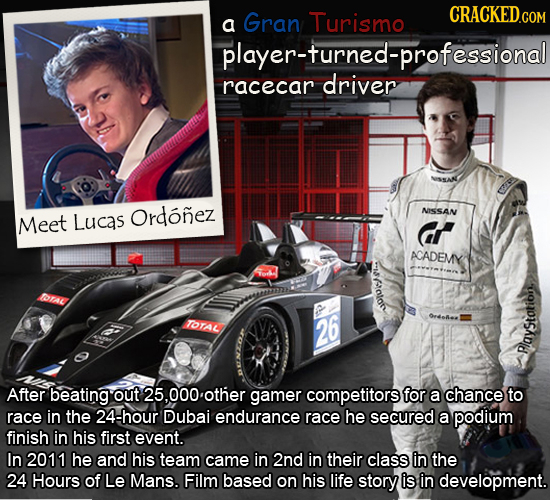 a Gran Turismo player-turned-professional racecar driver Meet Lucas Ordonez NISSAN cr ACADEMY alory rAL TOTAL 26 Payst After beating out 5.000 other g