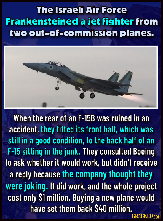 The Israeli Air Force Frankensteined a jet fighter from two out-of-commission planes. When the rear of an F-15B was ruined in an accident, they fitted
