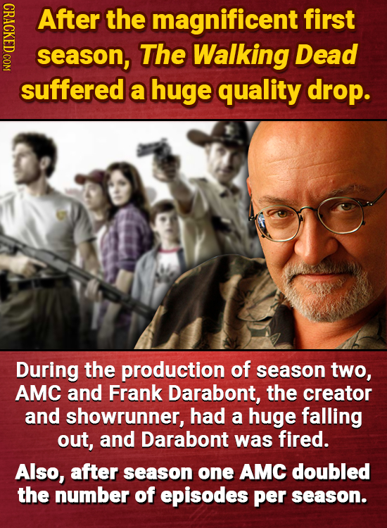 After the magnificent first season, The Walking Dead suffered a huge quality drop. During the production of season two, AMC and Frank Darabont, the cr