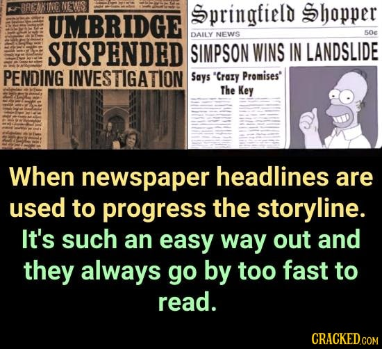 BREAKING NEWIS Springfield Shopper UMBRIDGE NEWS 50e DAILY SUSPENDED SIMPSON WINS IN LANDSLIDE PENDING INVESTIGATION Says Crary Promises The Key Whe