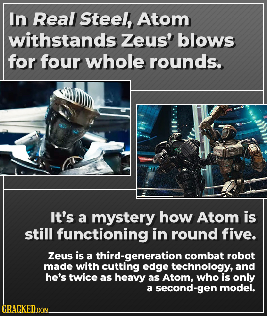 In Real Steel, Atom withstands Zeus' blows for four whole rounds. It's a mystery how Atom is still functioning in round five. Zeus is a third-generati