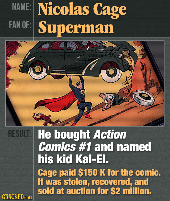 NAME: Nicolas Cage FAN OF: Superman RESULT: He bought Action Comics #1 and named his kid Kal-El. Cage paid $150 K for the comic. It was stolen, recove