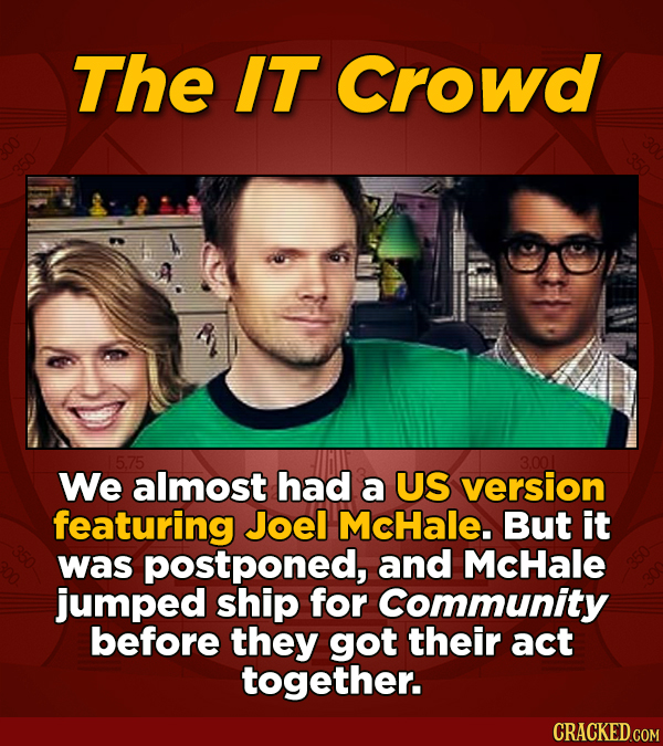 The IT Crowd 5.75 3.001 We almost had a US version featuring Joel McHale. But it was postponed, and McHale jumped ship for Community before they got t