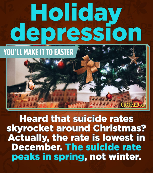 Statistics That Change How You See the World - Heard that suicide rates skyrocket around Christmas? Actually, the rate is lowest in December. The suic