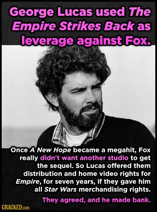 George Lucas used The Empire Strikes Back as leverage against Fox. Once A New Hope became a megahit, Fox really didn't want another studio to get the